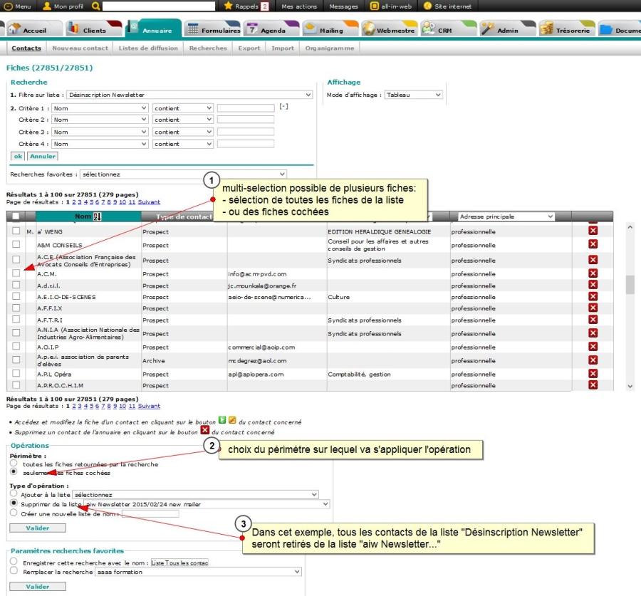 Gérer les listes de contact dans l'annuaire (multi-sélection par une case à cocher), Fig. 1