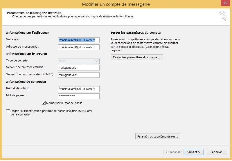 Paramétrer une adresse mail dans votre messagerie, Fig. 2 pop et smtp de gandi