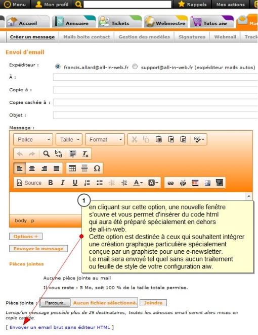 e-newsletter sans style css, Fig. 1 envoi sans éditeur