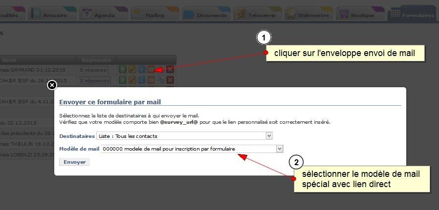 Envoi de mail avec un lien direct sur un formulaire, pré-rempli avec les informations du contact, Fig.6 mailing
