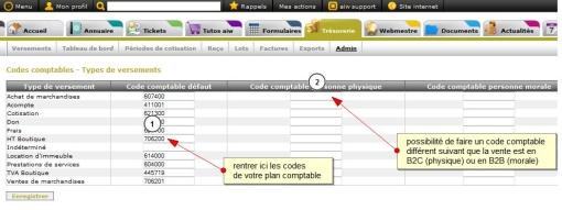 Enregistrer les codes comptables par type de versement, Fig. 2 saisie