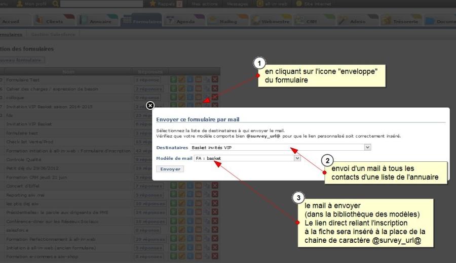 Envoi de mail avec un lien direct sur un formulaire, pré-rempli avec les informations du contact, Fig. 1