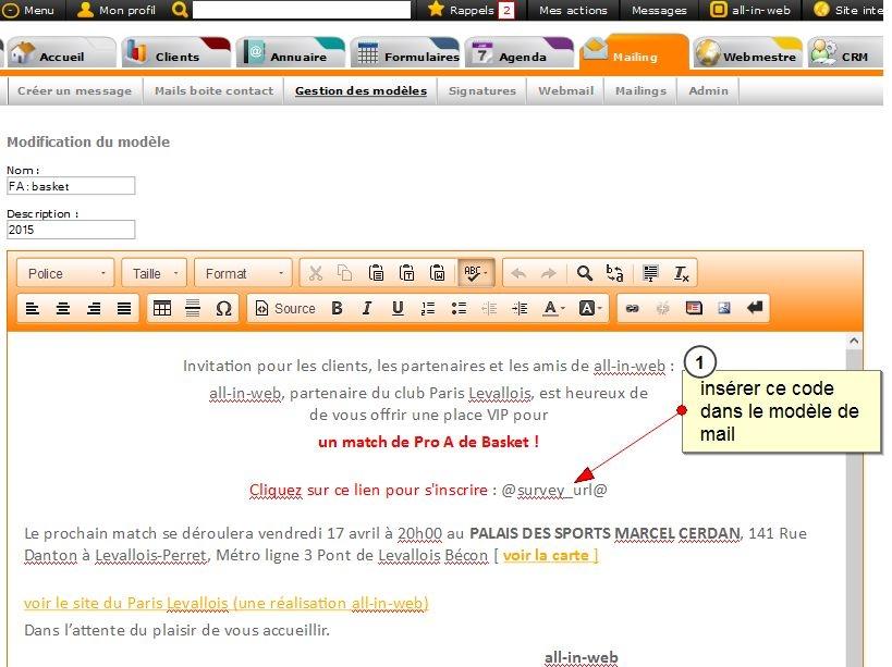 Envoi de mail avec un lien direct sur un formulaire, pré-rempli avec les informations du contact, Fig. 2