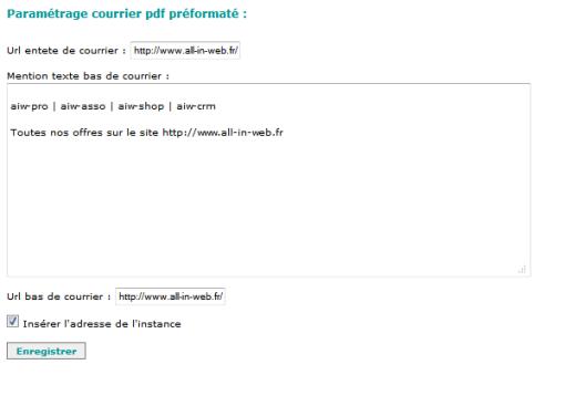Ecrire un courrier à une personne depuis sa fiche contact, Fig 2. paramétrage