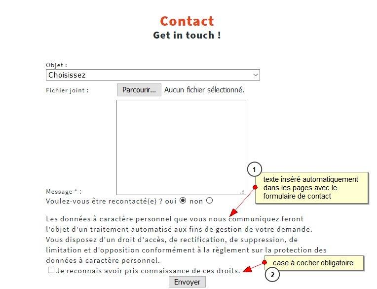 Formulaire de contact avec acceptation de l'utilisation des données personnelles, Case à cocher de conformité RGPD