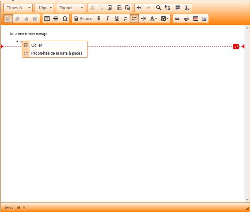 Menu contextuel du nouvel éditeur de page html, menu pour les listes  à puces