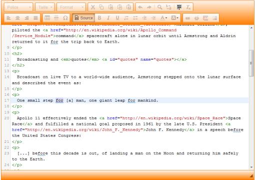 Mode source (expert) du nouvel éditeur de page html, la recherche automatique