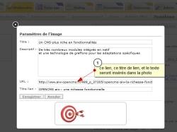 Ajouter un texte et un lien dans une photo d'un album, Fig.1 lien dans une photo