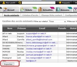 Exporter les contacts ayant un accès au site (fonction avancée), Fig. 1