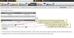 Taille maximum des fichiers chargés sur un site, Fig. 1 taille max des fichiers